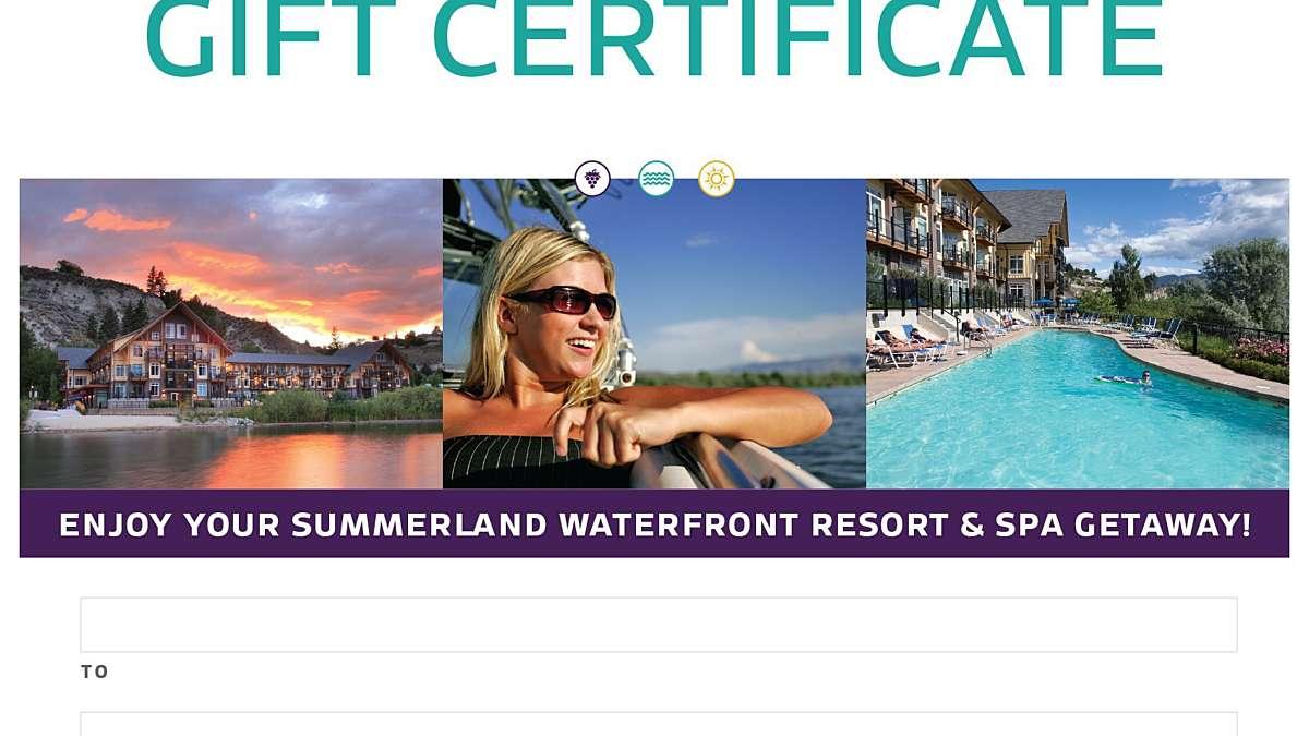 Gift Certificates Summerland Waterfront Resort