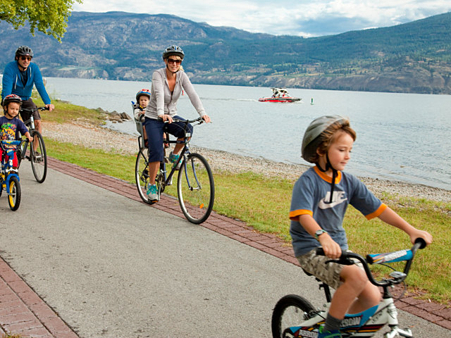 Family Biking By Lake Medium